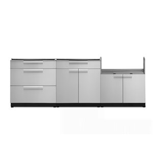 Cuisine extérieure modulaire NewAge Products, 86.88 po x 36,5 po, acier inoxydable, 3 pièces
