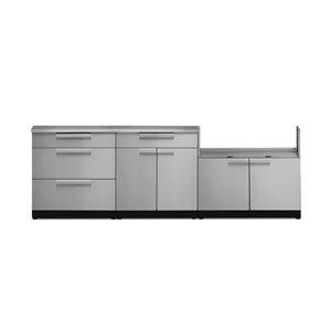 Cuisine extérieure modulaire NewAge Products avec comptoir, 184.75 po x 36,5 po, acier inoxydable, 4 pièces