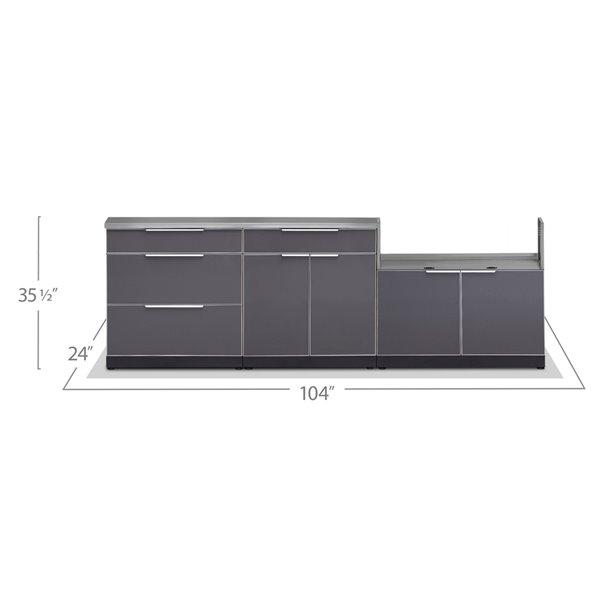 Cuisine extérieure modulaire NewAge Products avec 3 tiroirs, 104 po x 36,5 po, gris ardoise, 3 pièces