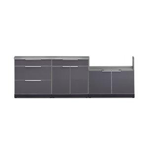 Cuisine extérieure modulaire NewAge Products avec comptoir et 3 tiroirs, 104 po x 36,5 po, gris ardoise, 4 pièces