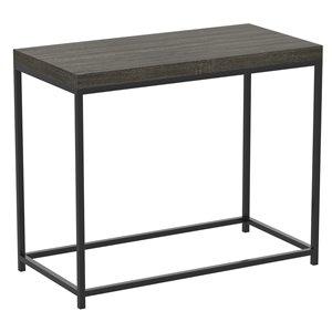 Table d'appoint rectangulaire moderne contemporaine, bois et armature en métal, gris foncé/noir