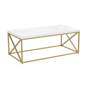 Table basse à armature de métal et plateau effet de marbre de Safdie & Co., or