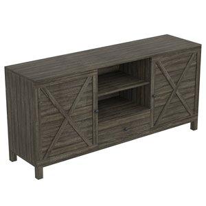Meuble de télé moderne contemporain en bois de Safdie & Co., 4 tablettes et 1 tiroir, gris foncé
