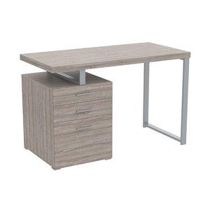Safdie & Co. Modern Contemporary Computer Desk -23.25-in W - 3-Drawer - Dark Taupe/Silver Metal