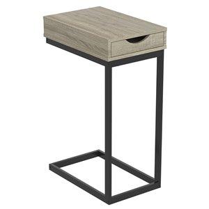 Table d'appoint en forme de C rectangulaire moderne contemporaine, bois et armature en métal, 1 tiroir, taupe foncé/noir