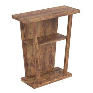 Table console moderne avec plateau en bois réclamé de Safdie & Co., 2 tablettes, brun