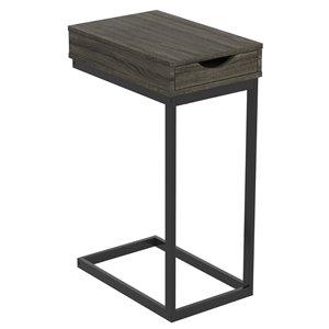 Table d'appoint en forme de C rectangulaire moderne contemporaine, bois et armature en métal, 1 tiroir, gris foncé/noir