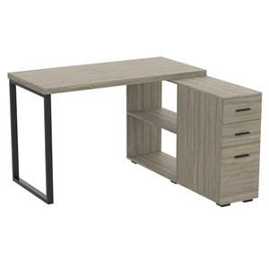 Safdie & Co. Modern Contemporary L-Shaped Desk -47.25-in W - 3-Drawer and 2-Shelf - Dark Taupe/Black Metal