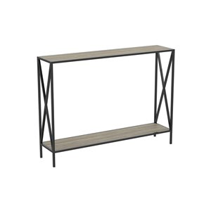 Table console moderne avec plateau en bois et armature de métal de Safdie & Co., 1 tablette basse, taupe foncée/noir
