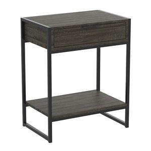 Table d'appoint rectangulaire moderne contemporaine, bois et armature en métal, 1 tiroir, 1 tablette, gris foncé/noir