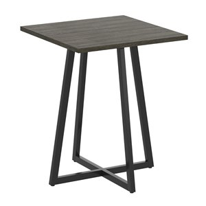 Safdie & Co. Modern Contemporary Wood Top Metal Frame Square End table - Dark Grey/Black