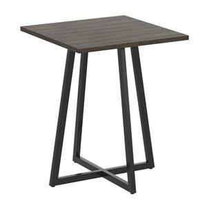 Table d'appoint carré moderne contemporaine, bois et armature en métal, gris foncé/noir
