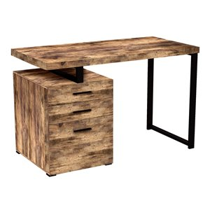 Safdie & Co. Modern Contemporary Reclaimed Wood Computer Desk -23.25-in W - 3-Drawer - Brown/Black Metal