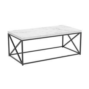 Table basse à armature de métal croisé et plateau effet de marbre de Safdie & Co., noir