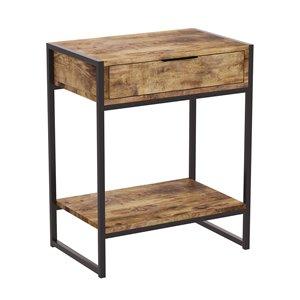 Table d'appoint rectangulaire moderne contemporaine, bois récupéré et armature en métal, 1 tiroir, 1 tablette, brun/noir