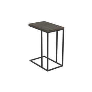 Table d'appoint en forme de C rectangulaire moderne contemporaine, bois et armature en métal, gris foncé/noir