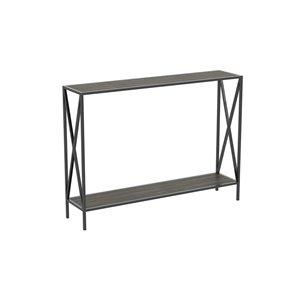Table console moderne avec plateau en bois et armature de métal de Safdie & Co., 1 tablette basse, gris foncé/noir