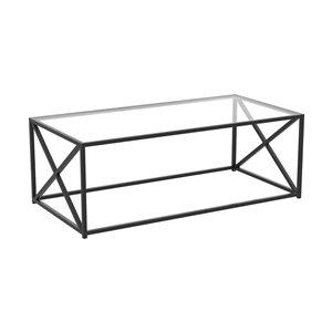 Table basse à armature de métal croisé et plateau en verre de Safdie & Co., noir