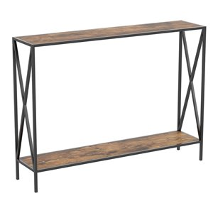 Table console moderne avec plateau en bois réclamé et armature de métal de Safdie & Co., 1 tablette basse, brun/noir