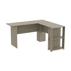 Safdie & Co. Modern Contemporary L-Shaped Desk -15.5-in W - 2-Shelf - Dark Taupe