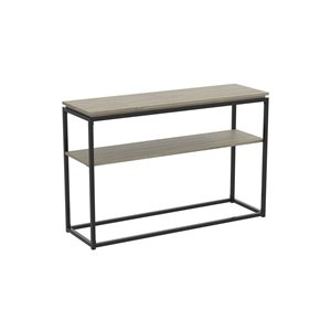 Table console moderne avec plateau en bois et armature de métal de Safdie & Co., 1 tablette, taupe foncée/noir