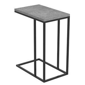 Table d'appoint en forme de C rectangulaire moderne contemporaine, bois et armature en métal, ciment foncé/noir