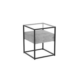 Table d'appoint carré moderne contemporaine, verre et armature en métal, 1 tiroir, ciment foncé/noir