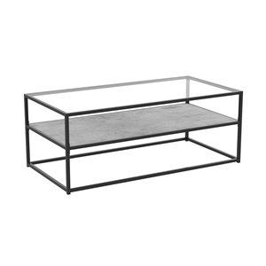 Table basse à armature de métal et plateau de verre de Safdie & Co., 1 tablette fini couleur ciment, noir