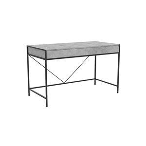 Safdie & Co. Modern Contemporary Computer Desk -23.75-in W - 2-Drawer - Grey Cement/Black Metal