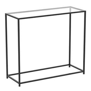 Table console moderne avec plateau de verre et armature en métal de Safdie & Co., noir