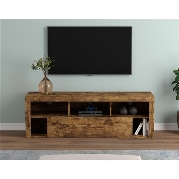 Safdie & Co. Rustic Farmhouse Reclaimed Wood TV Stand - 5-Shelf and 1-Drawer - Brown