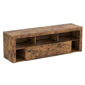 Meuble de télé rustique en bois réclamé de Safdie & Co., 5 tiroirs et 1 vaste tiroir, brun