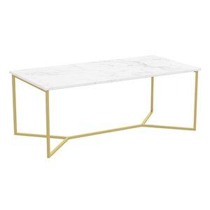 Table basse à armature de métal géométrique et plateau effet de marbre de Safdie & Co., or