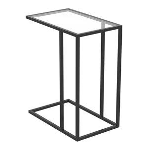 Table d'appoint en forme de C rectangulaire moderne contemporaine, verre et armature en métal, verre/noir