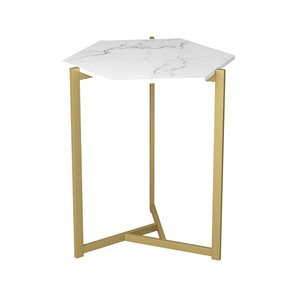 Table d'appoint rond moderne contemporaine, bois et armature en métal, marbre/or