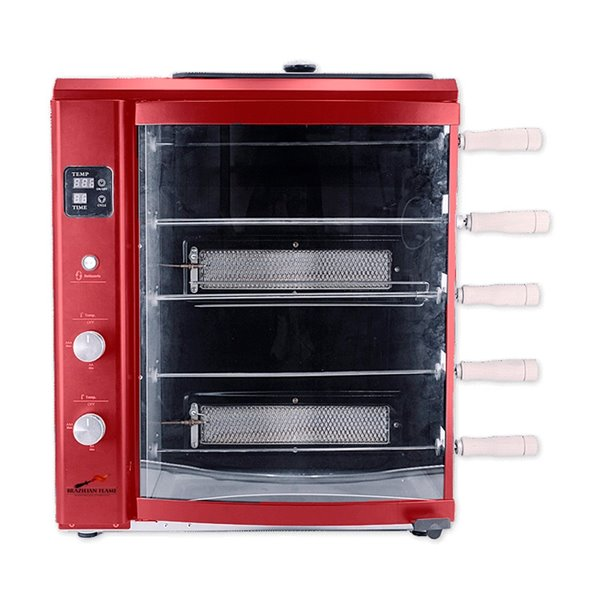 Brazilian Flame BG-05LXK Red Gas Rotisserie Grill 5-Skewer - 22-in - Stainless Steel