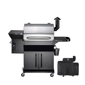inQbrands Pellet Barbecue ZGrills-1000E - 1060-sq. in. - Silver Stainless Steel
