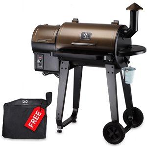 inQbrands Pellet Barbecue ZGrills-450A - 452-sq. in. - Black/Brown Porcelain-Coated Steel