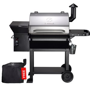 inQbrands Pellet Barbecue - ZGrills-10002E - 1060-sq. in. - Silver Stainless Steel
