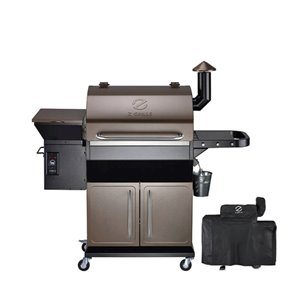 inQbrands Pellet Barbecue ZGrills-1000D - 1060-sq. in. - Brown Stainless Steel