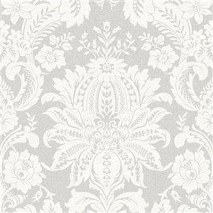 Papier peint Impératrice en tissu non-tissé texturé au motif damas par Graham & Brown, non encollé, 56pi², gris