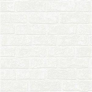 Papier peint Éclectique en vinyle texturé peinturable au motif de briques par Graham & Brown, non encollé, 56pi², blanc