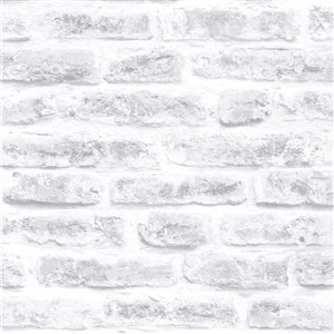 Papier peint Strata en vinyle texturé au motif de briques 3D par Graham & Brown, non encollé, 56pi², blanc