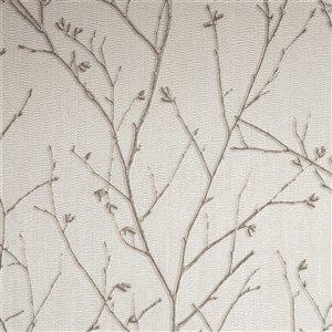 Papier peint Evita en vinyle texturé au motif de vignes par Graham & Brown, non encollé, 56pi², ivoire