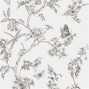 Papier peint Vie moderne en vinyle texturé au motif floral par Graham & Brown, non encollé, 56pi², noir/blanc