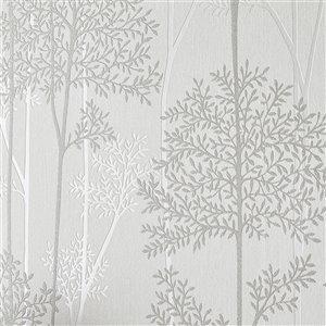 Papier peint Innocence en vinyle texturé au motif floral par Graham & Brown, non encollé, 56pi², blanc