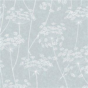 Papier peint Innocence en vinyle texturé au motif floral par Graham & Brown, non encollé, 56pi², bleu