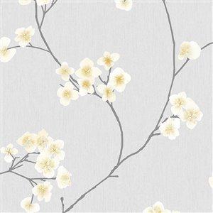 Papier peint Simplicité en tissu non-tissé texturé au motif floral par Graham & Brown, non encollé, 56pi², gris/ocre