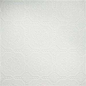 Papier peint en vinyle texturé peinturable au motif de petits carrés par Graham & Brown, non encollé, 56pi², blanc
