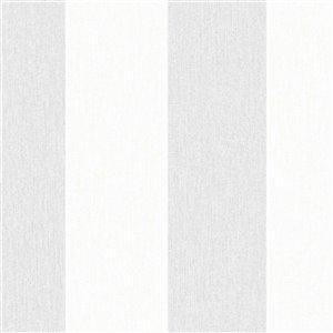 Papier peint Innocence en vinyle texturé rayé par Graham & Brown, non encollé, 56pi², gris